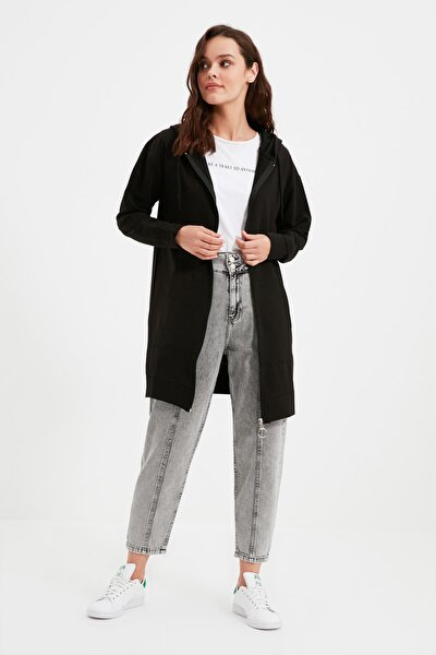 Siyah Fermuarlı Kapüşonlu Basic Örme Sweatshirt TCTAW22TW0137