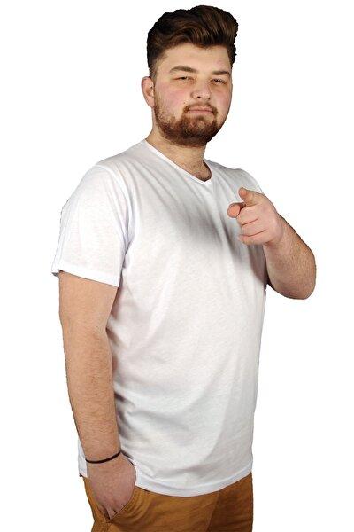 Büyük Beden Erkek Tshirt V Yaka Basic 20032 Beyaz