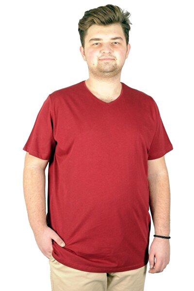 Büyük Beden Erkek Tshirt V Yaka Basic 20032 Bordo