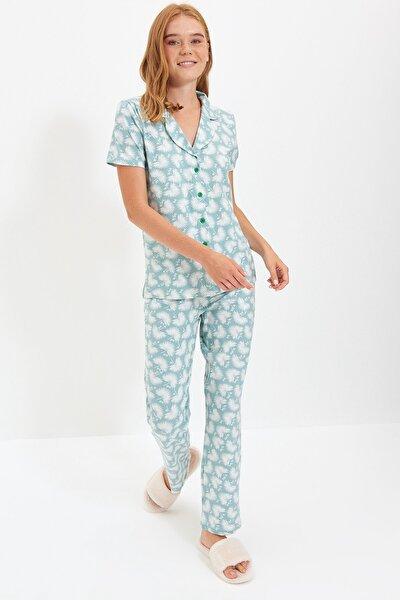 Mint Desenli Örme Pijama Takımı THMSS19IP0026