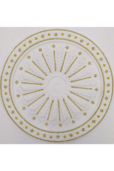 Altın Sarı Taşlı Başak Desenli Stropiyer Tavan Göbeği  40 cm