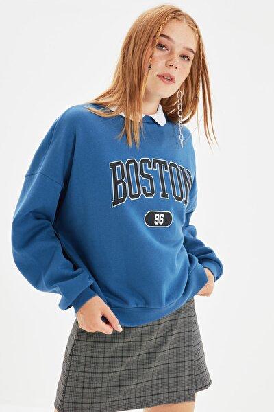 Indigo Baskılı Boyfriend Örme Şardonlu Sweatshirt TWOSS21SW0171