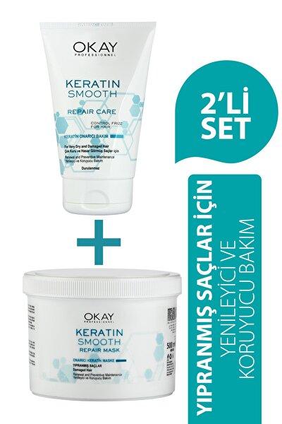 Okay Keratin Smooth Onarıcı Bakım Serisi Saç Maskesi + Durulanmayan Bakım Kremi - 2'li Set