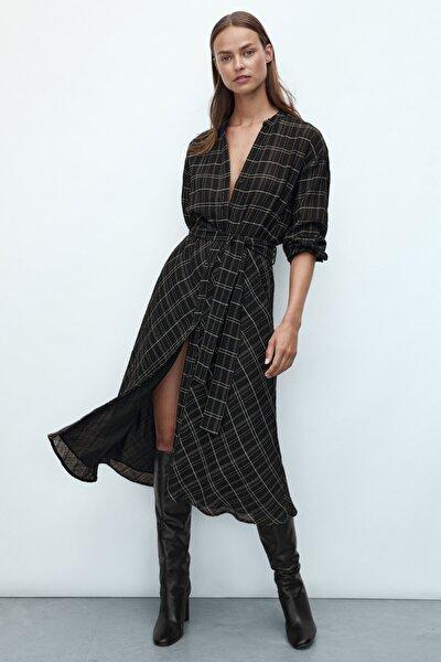 Kadın Kemerli Kareli Uzun Elbise 06604603