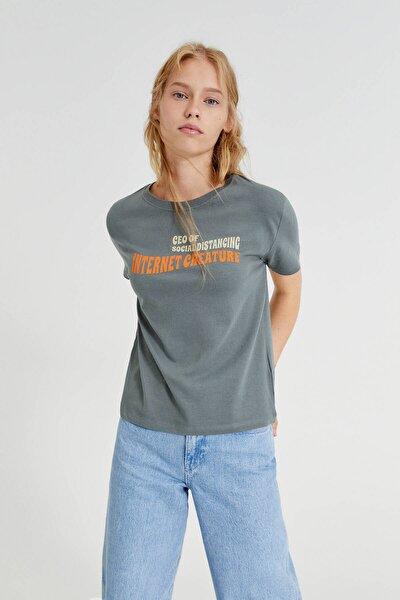 Kadın Yeşil/Gri Retro Sloganlı T-Shirt 08241392