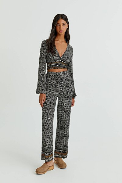 Desenli Bordürlü Straight Fit Pantolon