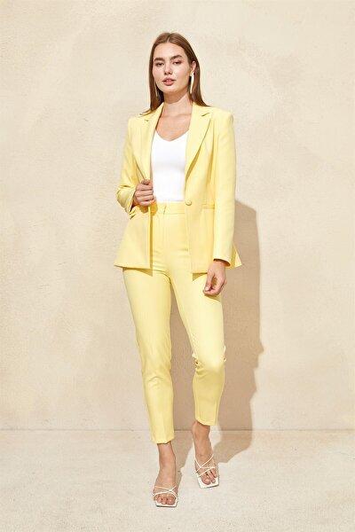 Sarı Blazer Ceket Pantolon Takım