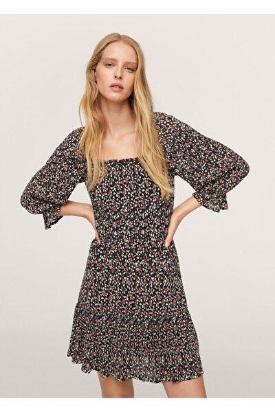 Kadın Siyah Çiçekli Elbise