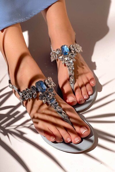 Kadın Mavi Taşlı Sandalet