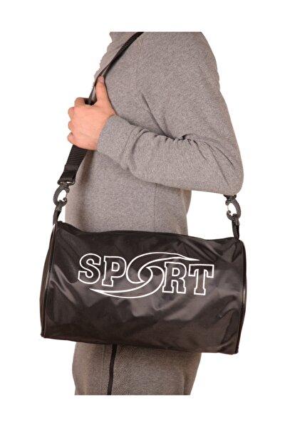 Ünisex Siyah Sporcu Silindir Omuz Askılı Spor Çantası