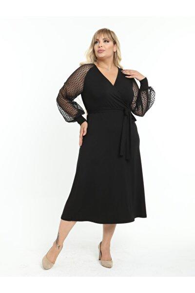 Kadın Siyah Büyük Beden Puantiye Tül Detay Kruvaze Yaka Lı Viskon Abiye Elbise