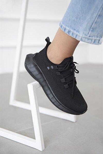 Sanvi Kadın Streç Triko Spor Ayakkabı Siyah