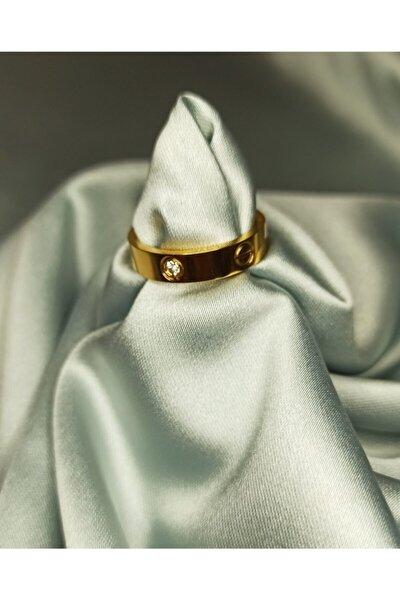 Kadın Gold Cartier Çelik Yüzük Gold