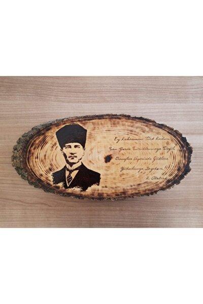 Doğal Ağaç Üzerine Atatürk Portresi (AHŞAP YAKMA) Yatay