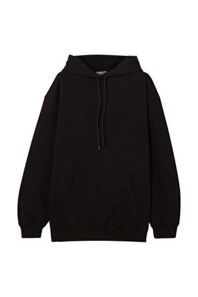 Kapüşonlu Unisex Siyah Cepli Sweatshirt