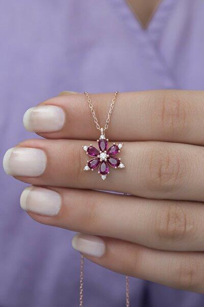 Kadın 925 Ayar Gümüş Pembe Zirkon Taşlı Manolya Çiçeği Kolye