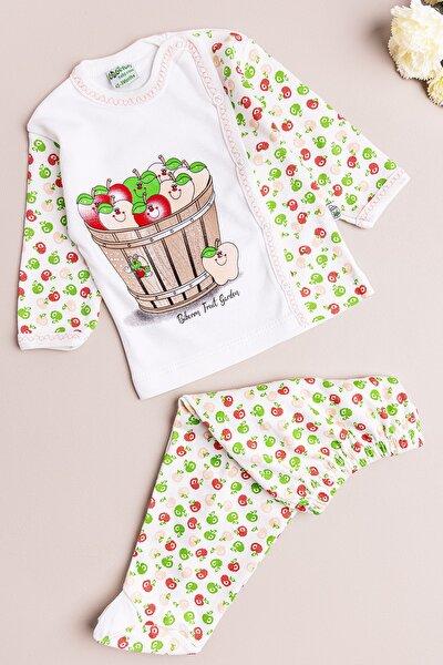 Kız Bebek Takım Elma Temalı Ikili Bebek Takım