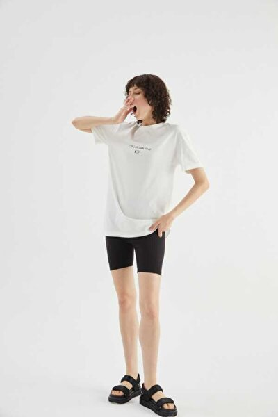 Tired Beyaz Pamuklu T-shirt
