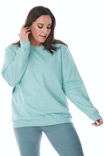 Büyük Beden Mint Yeşili Basic Oversize Sweatshirt