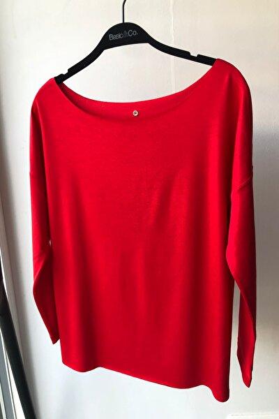 Eileen Ls Kayık Yaka Kırmızı Basic Uzun Kollu T-shirt