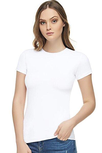 Kadın Beyaz Pamuklu Elastan Body Elt2202