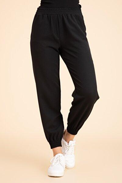 Kadın Siyah Beli Paçası Lastikli Loose Jogger Pantalon