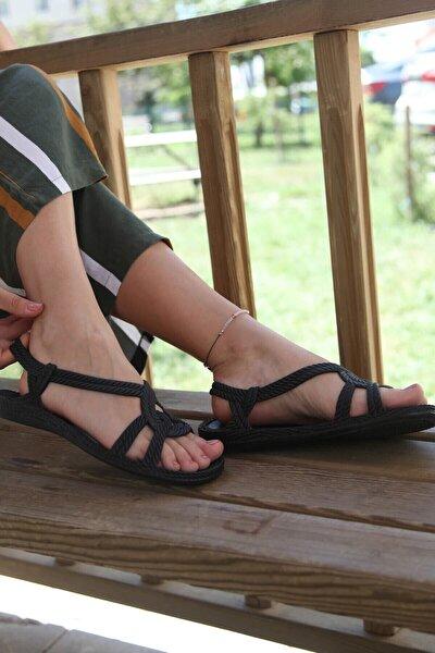Kadın Siyah Örgü Desenli Yumuşak Sandalet 40 No
