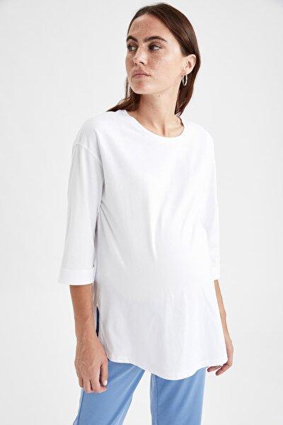 Yırtmaç Detaylı Relax Fit Hamile Tişört