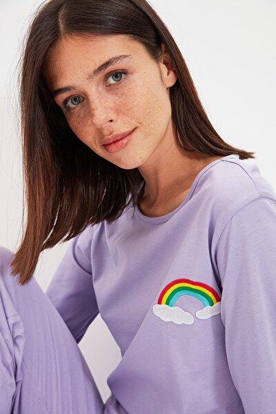 Lila Baskılı Örme Pijama Takımı THMAW22PT0251