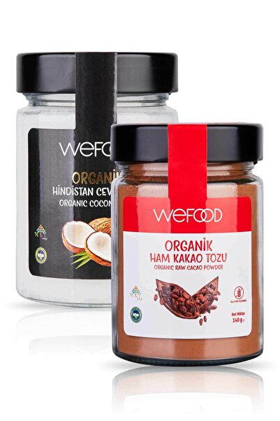 Organik Hindistan Cevizi Yağı 300 ml + Organik Ham Kakao Tozu 140 gr
