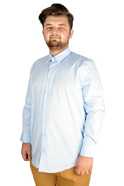 Büyük Beden Erkek Klasik Gömlek Likralı 20351 Mavi