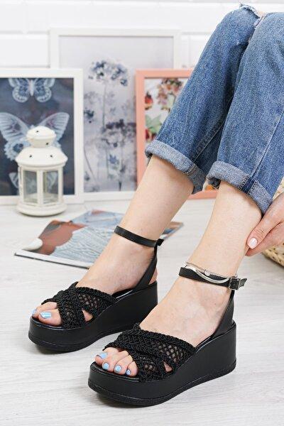 Amaia Dolgu Topuk Dantelli Sandalet Siyah
