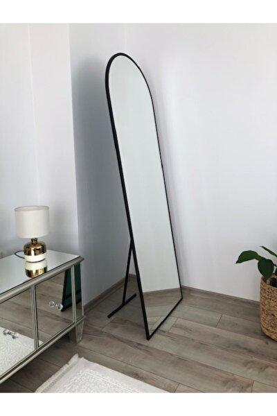Siyah Metal Çerçeveli Ayaklı Oval Boy Aynası 180*60 Cm
