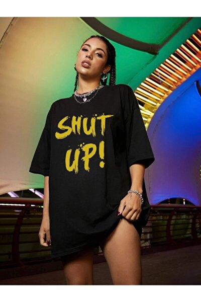 Kadın Shut Up Siyah Baskılı Oversize Tshırt