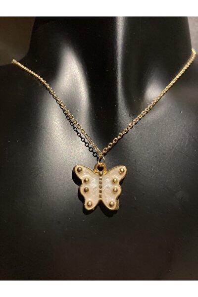 Kadın Beyaz Kelebek Kolye