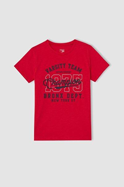 Kırmızı Erkek Çocuk Slogan Baskılı Kısa Kollu Tişört V9378A621HS