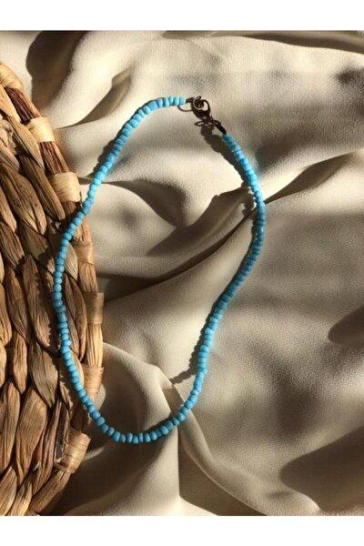 Kadın Mavi Renk Boncuk Kolye