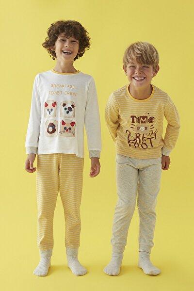 Çok Renkli Erkek Çocuk Toast Crew 4lü Pijama Takımı