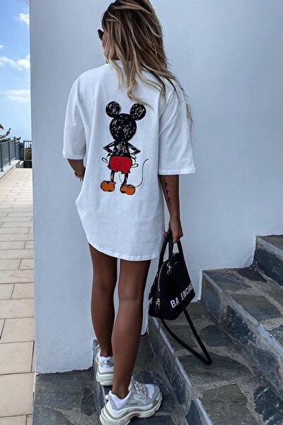 Kadın Beyaz Sırt Baskılı Mickey Mouse T-shirt