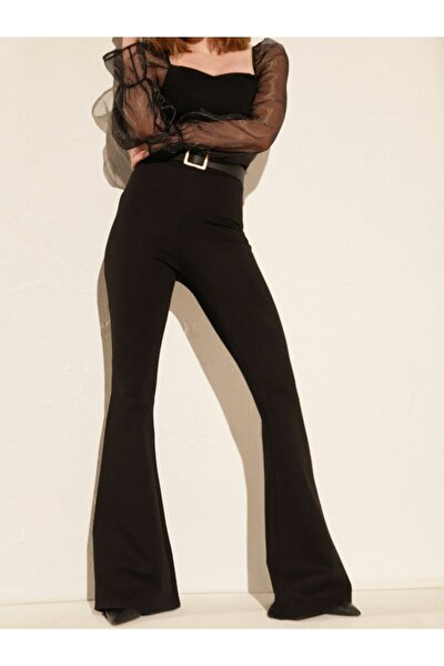 Kadın Siyah Yüksek Bel Ispanyol Paça Çelik Interlok Tayt Pantolon