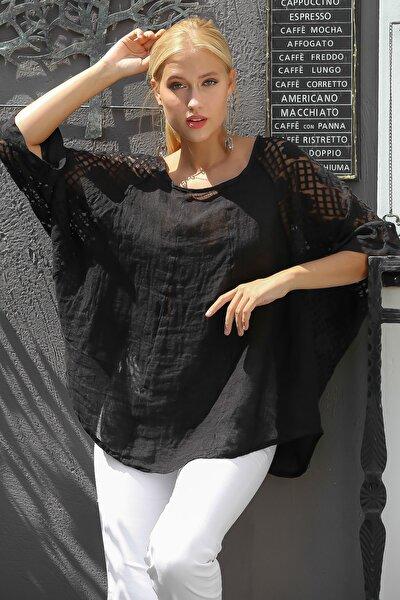Kadın Siyah İtalyan Dantel Yarasa Kol Dokuma Bluz M10010200BL94920