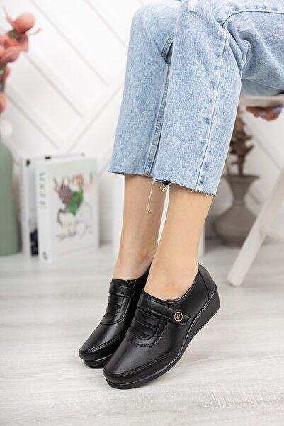 Kadın Siyah Cırtlı Ortopedik Günlük Ayakkabı