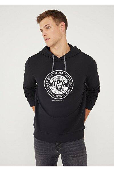 Mühür Logo Baskılı Kapüşonlu Siyah Sweatshirt 065169-900
