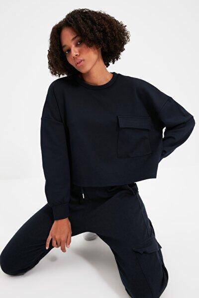 Lacivert Cepli Crop Örme Sweatshirt TWOAW21SW0119