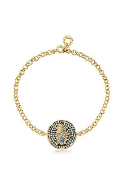 Madalyon Fatma Ana Eli, Zirkon Mavi Ve Beyaz Taşlı, Altın Rengi Gümüş Bileklik
