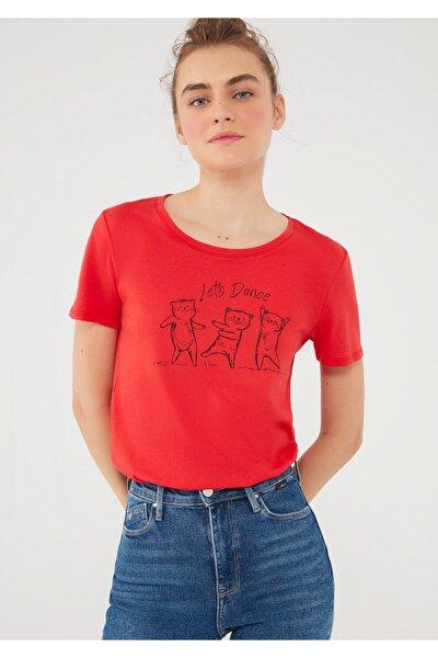 Lets Dance Baskılı Kırmızı Tişört 1600562-33099