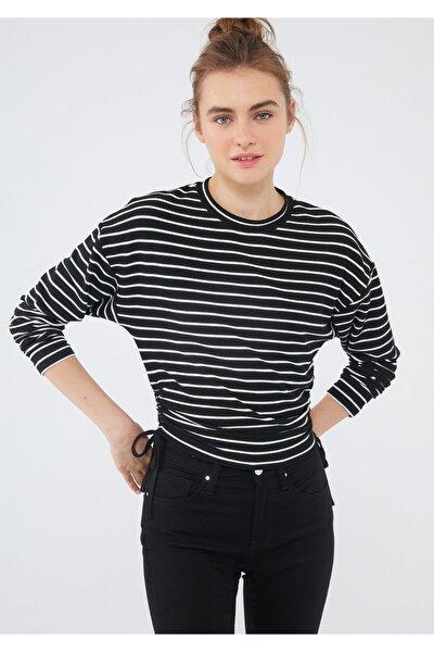 Çizgili Siyah Tişört 1601000-900