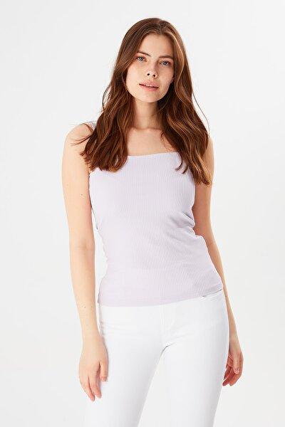 Kadın Lila Kare Yaka Basic T-shirt
