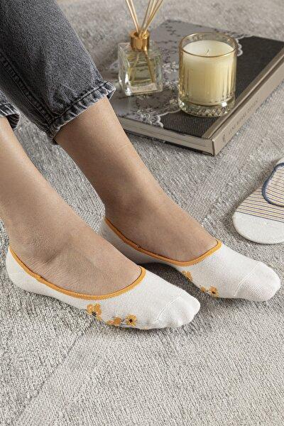 Funny Pamuk Kadın 2'li Babet Çorap Standart Hardal Sarısı-lacivert