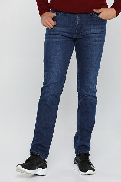 Erkek Mavi Slim Fit Likralı Jean Kot Pantolon 1122